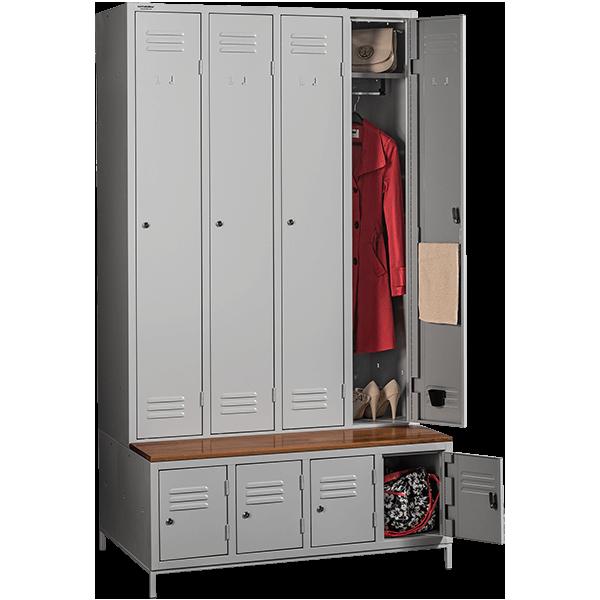 garderobenschr nke mit schuhfach und sitzbank metalobox. Black Bedroom Furniture Sets. Home Design Ideas